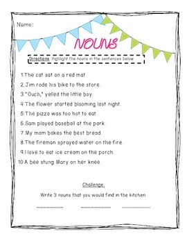 Nouns and Verbs Grammar Packet-Common Core Aligned