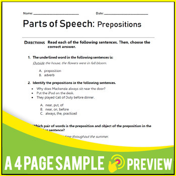 Nouns, Verbs, Prepositions, Adjectives - ELA Grammar Worksheets - ELA MCQs