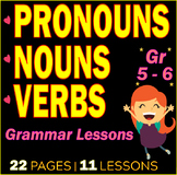 Nouns | Verbs | Pronouns | Grammar Lessons & Practice | Review | Gr 5 - 6 | ELA