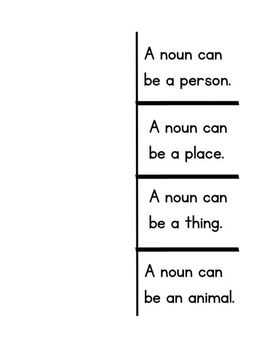 Nouns, Verbs and Adjective Foldables