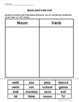 Nouns, Verbs, and Adjective Printables