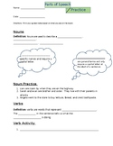 Nouns, Verbs, and Adjective Review Worksheet