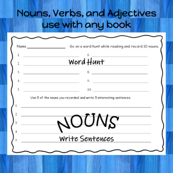 Nouns, Verbs, and Adjectives  use with any book