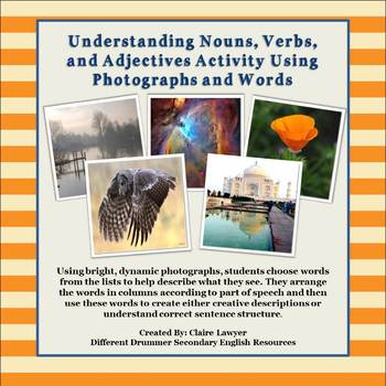 Nouns, Verbs, and Adjectives Activity Using Pictures and Organizers