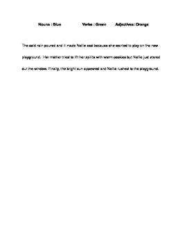 Nouns, Verbs, and Adjectives Assessment
