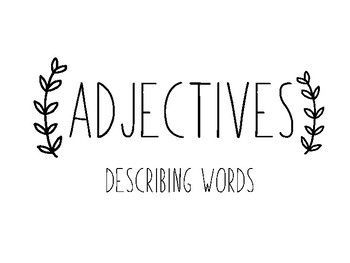 Nouns, Verbs and Adjectives Basic Posters