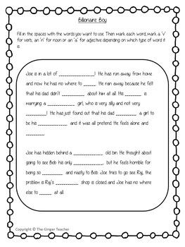 Nouns, Verbs and Adjectives Complete Lesson – Billionaire Boy