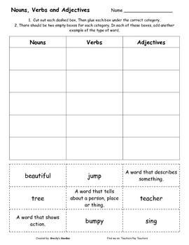 {Freebie} Nouns, Verbs and Adjectives -- Cut and Sort Worksheet
