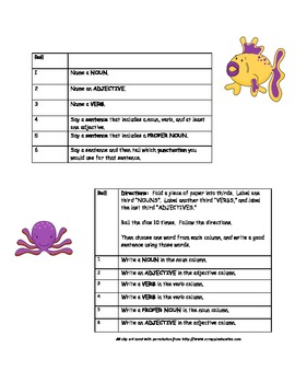 Nouns, Verbs, and Adjectives Dice Game for use in Small Group
