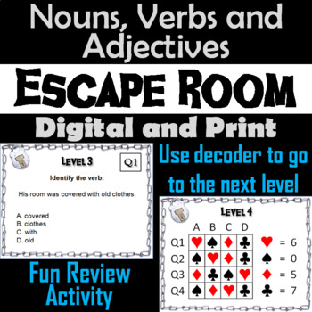 Nouns Verbs and Adjectives Game: Grammar Escape Room Parts of Speech