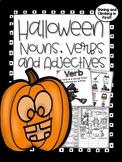 Nouns, Verbs, and Adjectives - Halloween Themed - No prep!