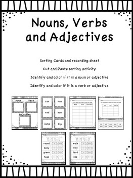 Nouns, Verbs and Adjectives Packet
