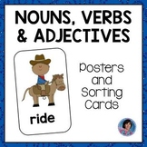 Pictures of Nouns, Verbs and Adjectives: Worksheets and Sorting Activities {ELL}