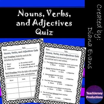 Nouns Verbs and Adjectives Quiz