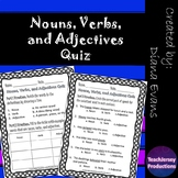 Nouns Verbs and Adjectives Quiz