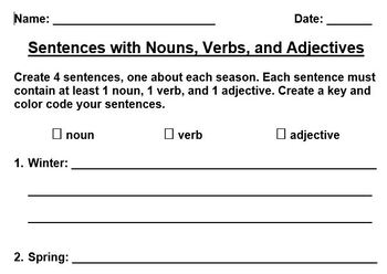 Nouns, Verbs, and Adjectives Review