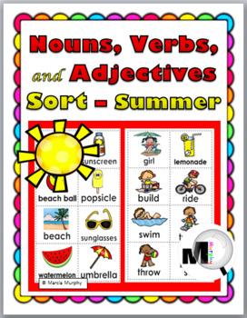 Nouns, Verbs, Adjectives Sort - Summer Theme by Marcia Murphy | TpT
