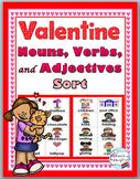 Nouns, Verbs & Adjectives Sort - Valentine's Day - Parts of Speech