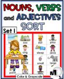 Nouns, Verbs, Adjectives Sort - Set 1 - Parts of Speech