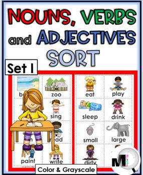 Nouns, Verbs, & Adjectives Sorting - Set 1 ~ Parts of Speech