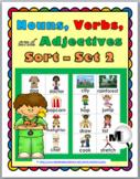 Nouns, Verbs, Adjectives Sort - Set 2
