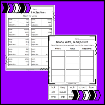Nouns, Verbs, and Adjectives Sorts and Worksheets
