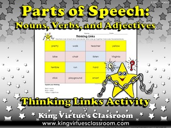 Nouns, Verbs, and Adjectives Thinking Links - Parts of Spe