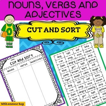 Nouns Verbs and Adjectives Word Sort