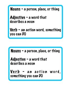 Nouns, Verbs, and Adjectives Worksheet and Cheat Sheet