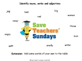 Nouns, Verbs and Adjectives Worksheet and Lesson Plan