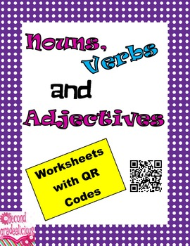 Nouns, Verbs and Adjectives Worksheets with QR Codes