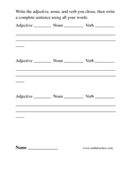 Nouns, Verbs, and Adjectives for Common Core