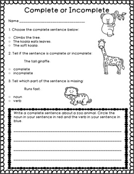 Nouns, Verbs, and Complete Sentences