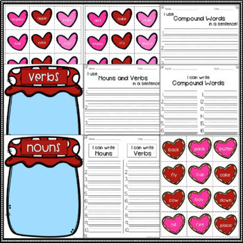 Nouns, Verbs, and Compound Words Valentine's Edition