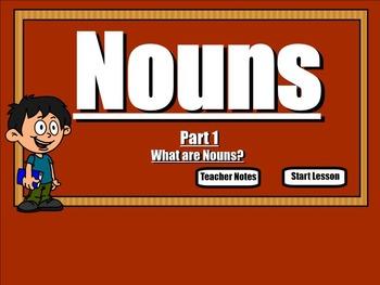 Nouns: What are Nouns? A SmartBoard Lesson (Grammar)
