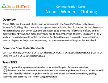 Nouns- Women's Clothing Communication Cards - SmartEdTech