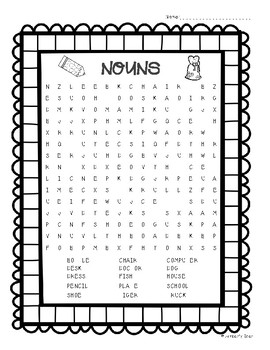 Nouns Word Search - Parts of Speech