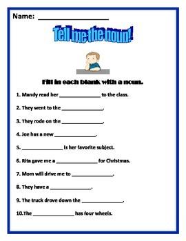 Nouns Worksheet - Fill in the noun!