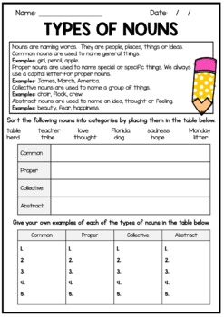 Nouns Worksheet With Answers - Common, proper, collective