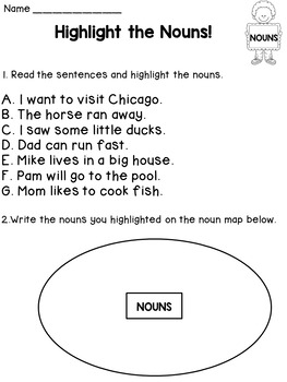 Nouns Worksheets and Posters