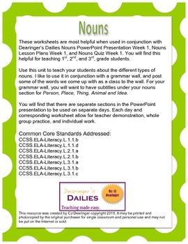 Nouns Worksheets Week 1
