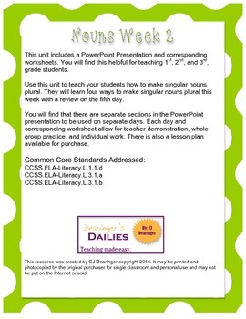 Nouns Worksheets Week 2: Plural Nouns