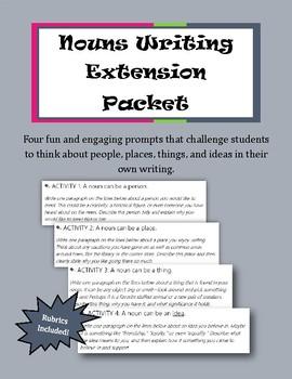 Nouns Writing Packet || Grammar Extension Activity