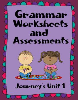 Nouns, adjectives, action verbs assessments and quizzes - Journeys Unit 1