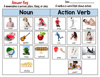 Nouns and Action Verbs Sort Worksheet L.K.1b