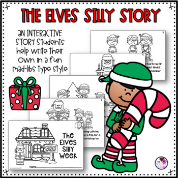 Nouns and Adjectives Christmas Themed Silly Story and Sort Activity