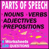 Nouns, Adjectives, Verbs, & Prepositions Grammar Tests   1