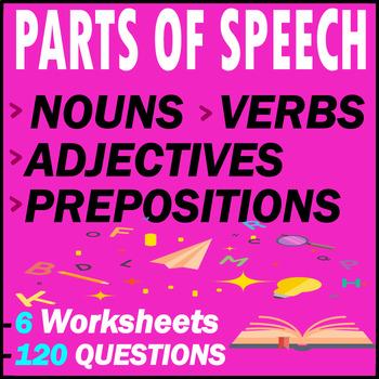 Nouns, Adjectives, Verbs, & Prepositions Grammar Tests | 120 MCQs | Grade 7