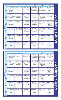 Nouns and Articles Battleship Board Game