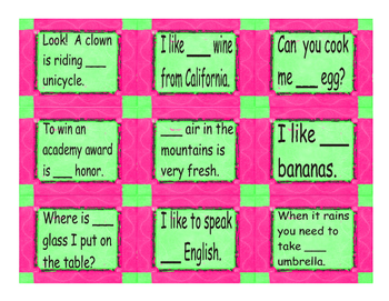 Nouns and Articles Card Game